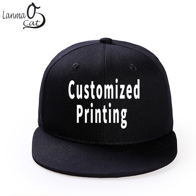 Lanmaocat Custom Print Hip Hop Cap Men Or Women Snapback Hat High Quality Adjustable DIY Solid Colour Hats Free Shipping