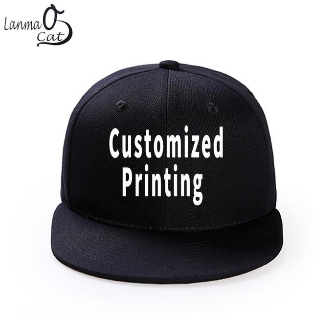 Lanmaocat Custom Print Hip Hop Cap Men or Women Snapback Hat High Quality  Adjustable DIY Solid Colour Hats Free Shipping 68962325c5c8