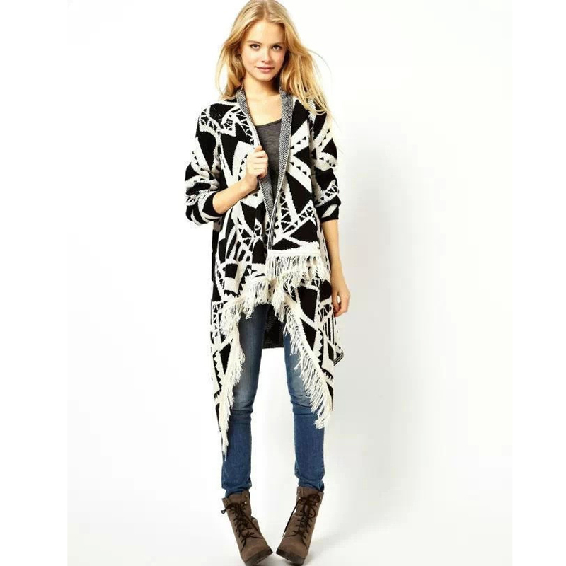 541368ff692c9 2015 Winter Fashion Aztec Tribal pattern Women Sweater Vintage Tassels  Poncho Knitted Long kimono cardigan feminino y245