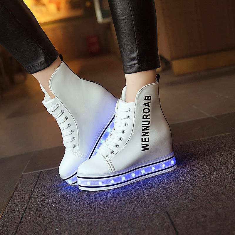 High Top Height Increasing Wedge Heels Glowing Luminous Light Up Flashing Shoes  Women Luminous Usb Led White Wedge Sneaker-in Women s Flats from Shoes on  ... 5371265a5