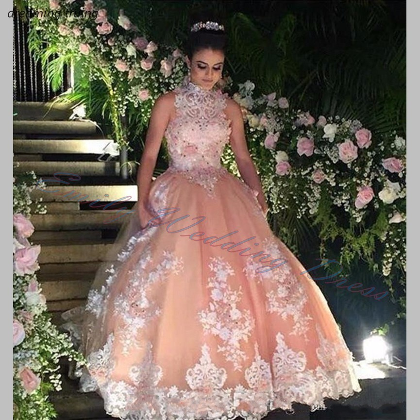 Sweet 16 Year Champagne Quinceanera Dresses 2019 Vestido Debutante 15 Anos Ball Gown High Neck Sheer Lace Prom Dress For Party(China)