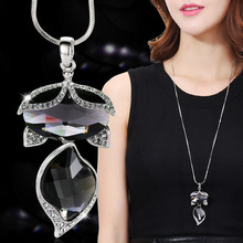 Ajojewel Big Gray Crystal Fox Pendant Necklace For Women Long Chain Animal Jewelry Dress Sweater Accessories