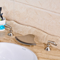Fashionable Design Water Faucet For Wash Basin With Hot Cold Pipes Nickel Brushed