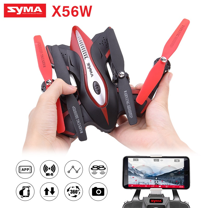 SYMA X56W Remote Control Drone Helicopter 2.4G 4CH 6 Axis Aircraft Quadcopter Foldable Hover RC Dron with WiFi Camera wltoys q222 quadrocopter 2 4g 4ch 6 axis 3d headless mode aircraft drone radio control helicopter rc dron vs x5sw