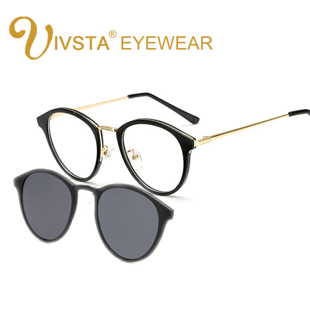 61c7a66977 IVSTA Clip On Sunglasses Women Polarized Lenses Magnetic Glasses Clips  Magnet Cat Eye Myopia Spectacle Optical Frame Reading