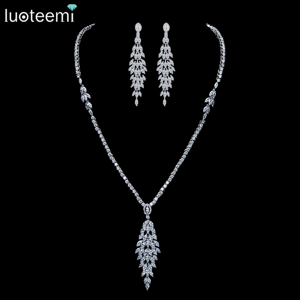 LUOTEEMI 2016 New Perfect Model Design AAA+ Quality CZ Bridal Fashion Necklace Earring Jewelry Sets Women Wedding Accessories