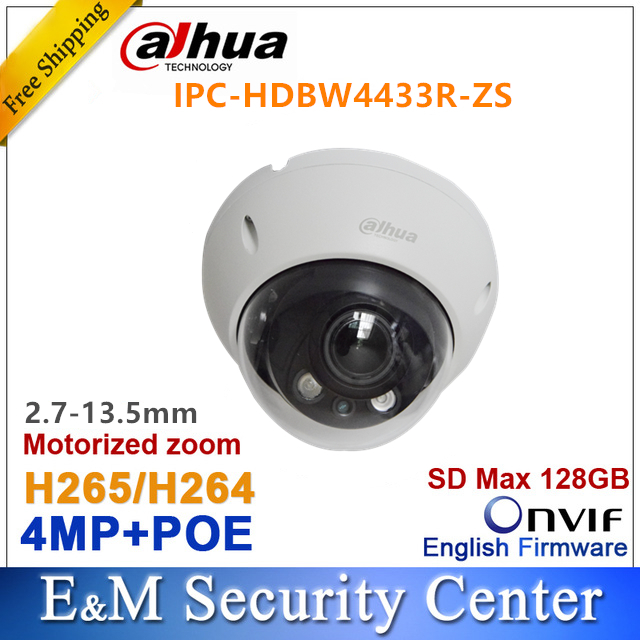 Original dahua IPC HDBW4433R ZS 4MP IPC replace IPC HDBW4431R ZS IP 2.7mm ~13.5mm VF motorized lens camera POE SD card solt-in Surveillance Cameras from Security & Protection    1