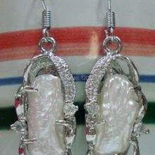 Красивые натуральные ненормальные серьги с белыми жемчужинами [пара] серьги для серебряных ювелирных изделий