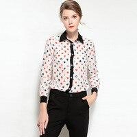 High Quality 2018 Spring Summer New Runway Fashion Long Sleeve Poker Printing Genuine Silk Ladies Blouse
