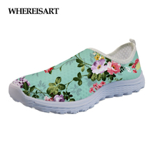 WHEREISART Fashion Women Brand Flats Shoes Floral Style Womens Sneakers Flower Printed Casual Beach Slip-on Mesh Woman