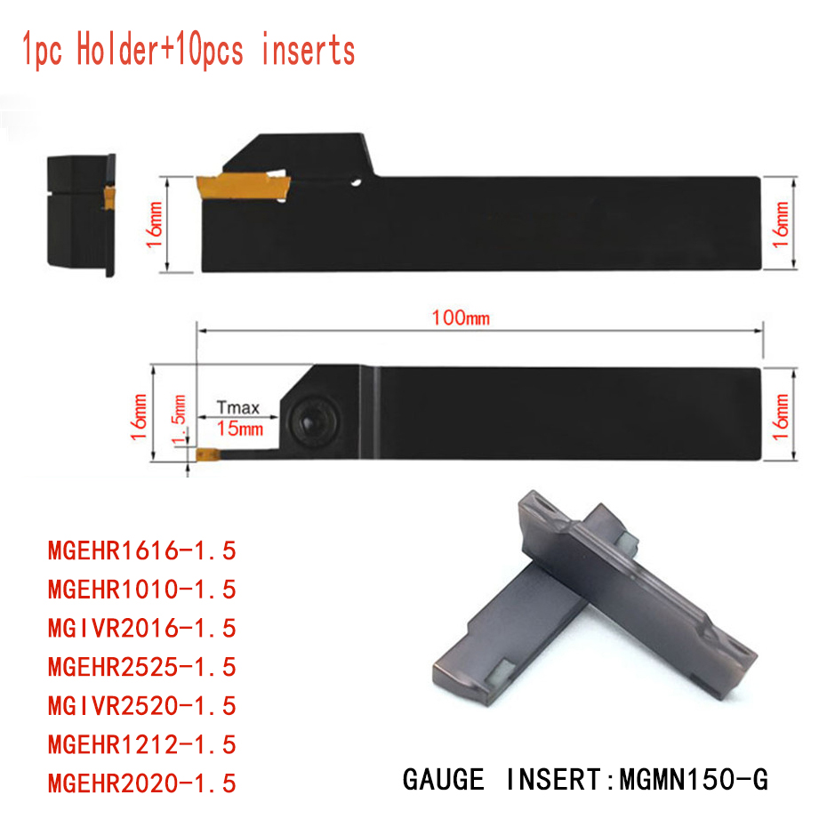 1PCS Boring Tool+10PCS MGMN150 High quality Grooving Inserts MGEHR1616-1.5 MGEHR1010-1.5 MGIVR2016-1.5 CNC Lathe Turning tool best price mgehr1212 2 slot cutter external grooving tool holder turning tool no insert hot sale brand new
