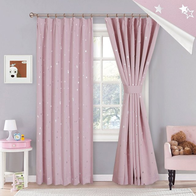 1 Pc Cute Shiny Sliver Star Beige Pink Curtains Blackout For Living Room