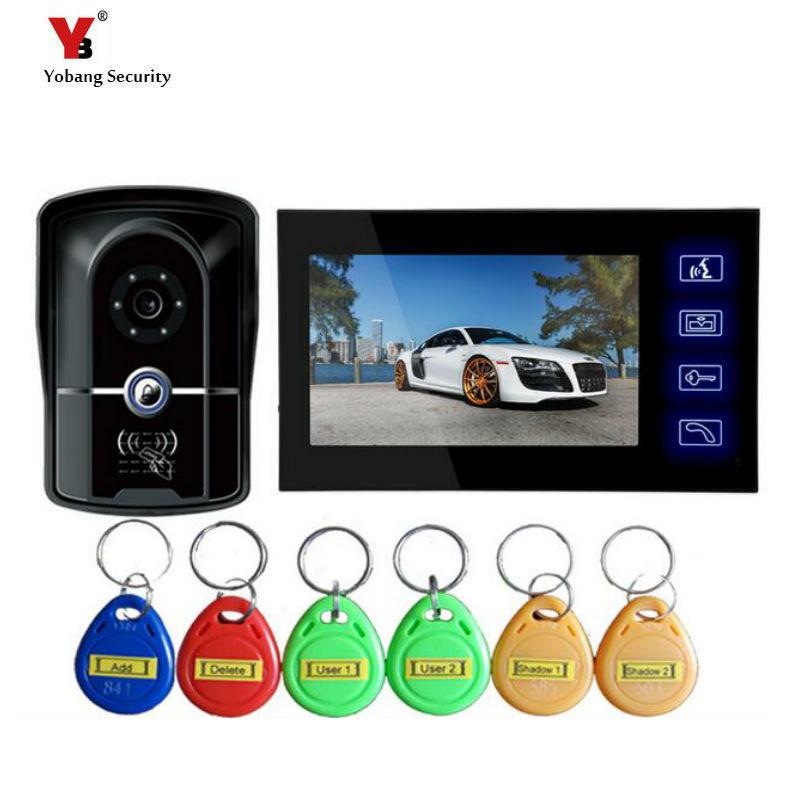 Yobang Security  RFID touch keypad door intercom Night Vision Eye Camera Doorphone Color Screen Video Door Phone Intercom System