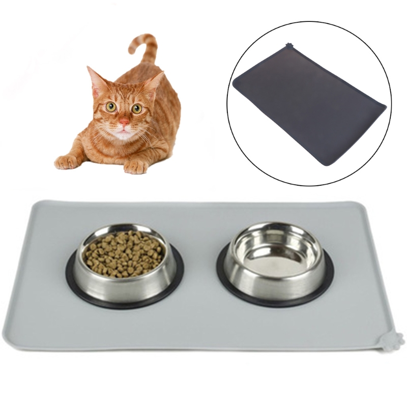 2 color Wipe Clean Pet Supplies Pet Dog Puppy Cat Feeding Mat Pad Cute Silicone Bed Dish Bowl Food Water Feed Placemat