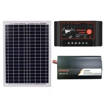 18V20W Solar Panel +12V 50A/60A Controller + 1200W Inverter Dc12V-Ac230V Solar Power Generation Kit