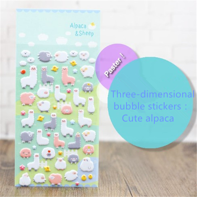Cartoon  Stickers Cute Alpaca  Stickers Scrapbooking Three-dimensional Bubble Stickers Decorative Stickers Collage Nursery