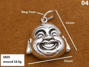 Image 4 - Handcrafted 925 Silver Buddha Pendant Necklace 925 sterling Tibetan Buddha Head Amulet Pendant Good Luck Buddha Statue Amulet