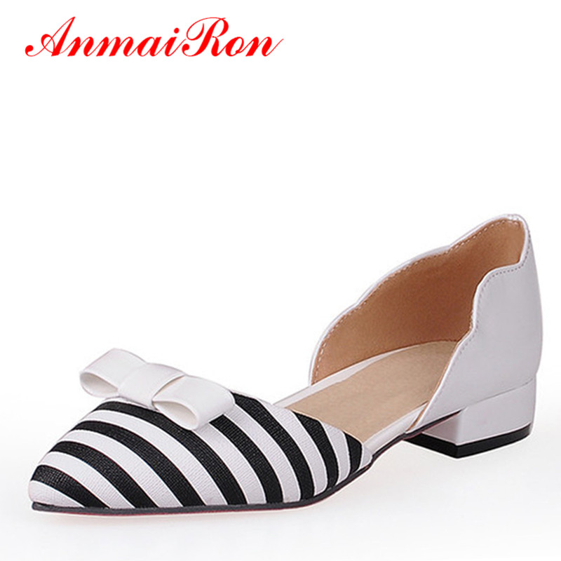 ANMAIRON Shallow Leisure Topsider Women Stripe Flats Shoes Woman New Size 43 Fashion Pointed Toe Bowtie Slip-on Ladies Shoes new 2017 spring summer women shoes pointed toe high quality brand fashion womens flats ladies plus size 41 sweet flock t179