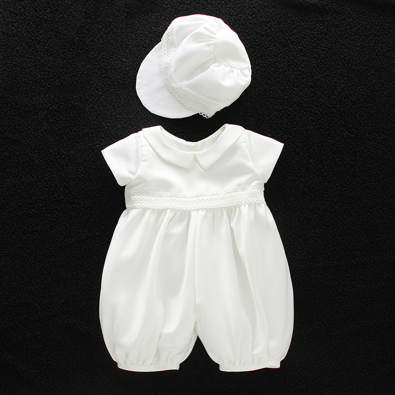 BBWOWLIN Baby Boy Baptism Christening Rompers with Hat 9013