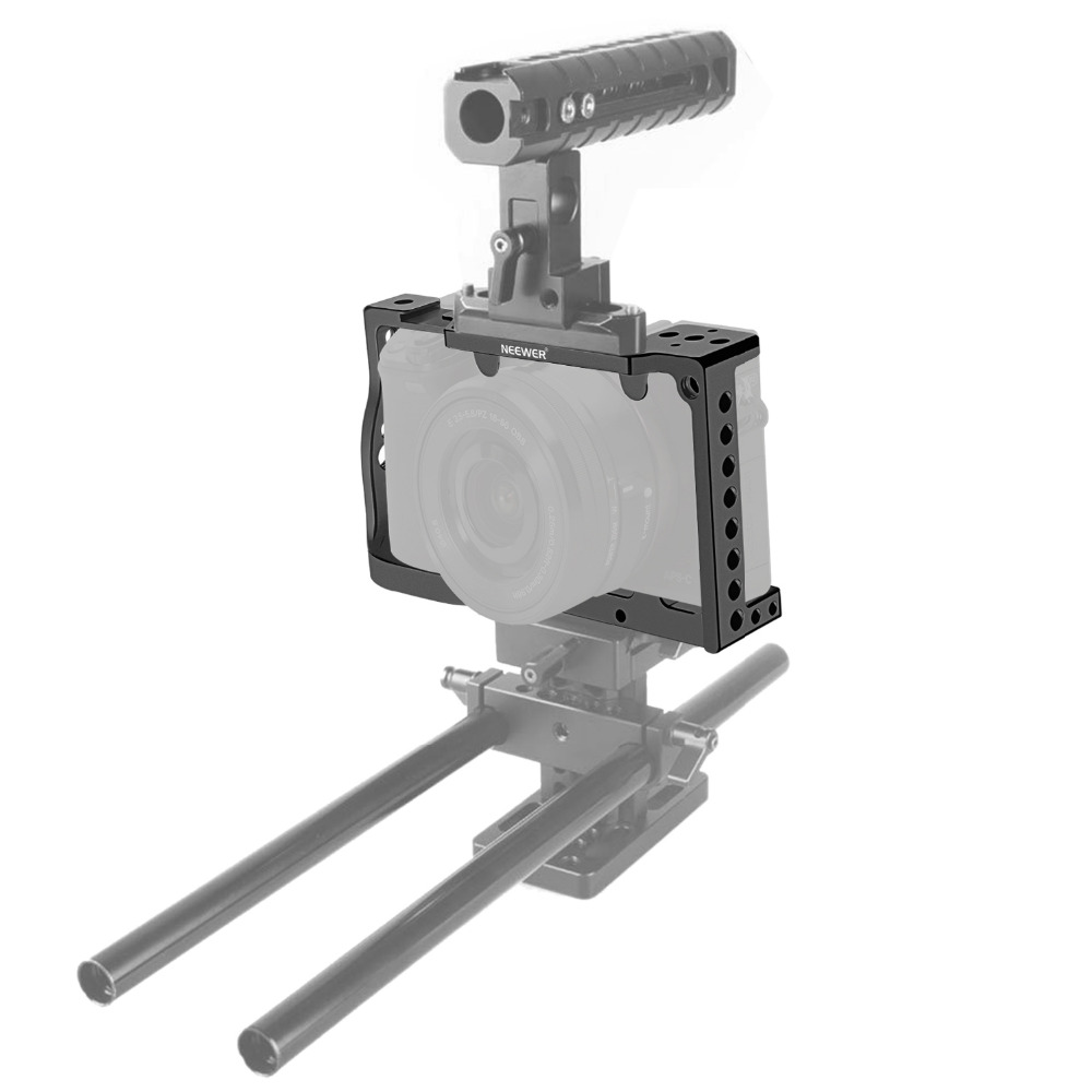 Neewer Aluminum Corrosion Resistant  Camera Cage with 1/4-inch Thread Mount Tripod Plate Track Slider for Sony A6000 A6300 f18637 8 fat cat new aluminum protection boarder protective housing case cage kit special for sony a6000 a6300 camera kit mount