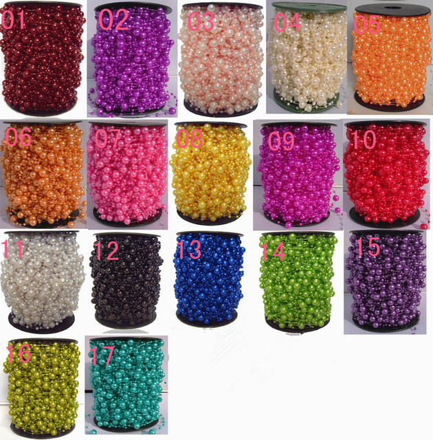 STOCK!!!Free Shipping!60meters Pearl Spray Beads Garland Wedding Tree Centerpiece flower/table Decoration Crafting DIY accessory