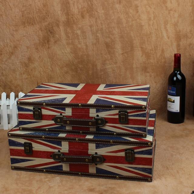 D Hot retro suitcase European Union Jack piece storage box wooden box factory direct shooting props & D Hot retro suitcase European Union Jack piece storage box wooden ...