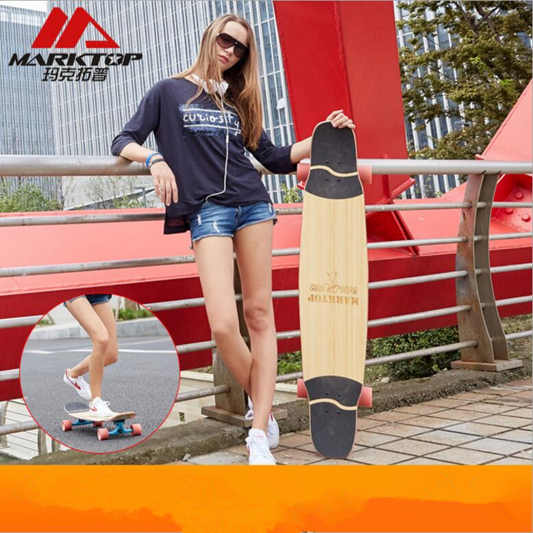 Marktop Professional Longboard Deck  Dancing Board Walking Bamboo&Canadian Maple Mixed Material Long Skateboard 9.5