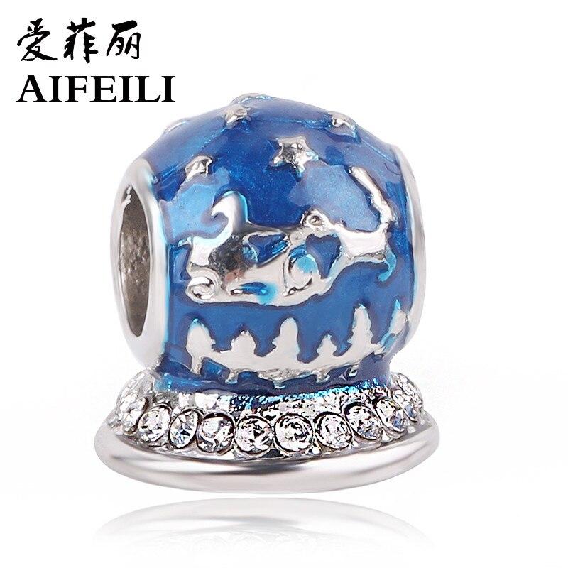 AIFEILI Silver Color Blue Christmas Winter Snowflake Elk Sled Beads For Original Pandora Charm Bracelet DIY Jewelry