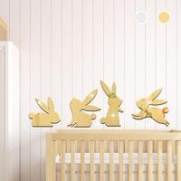 4 Pcs Rabbit Wall Stickers 3D Bunny Art Acrylic Mirror Sticker Wall Decor Kids Rooms Decoration