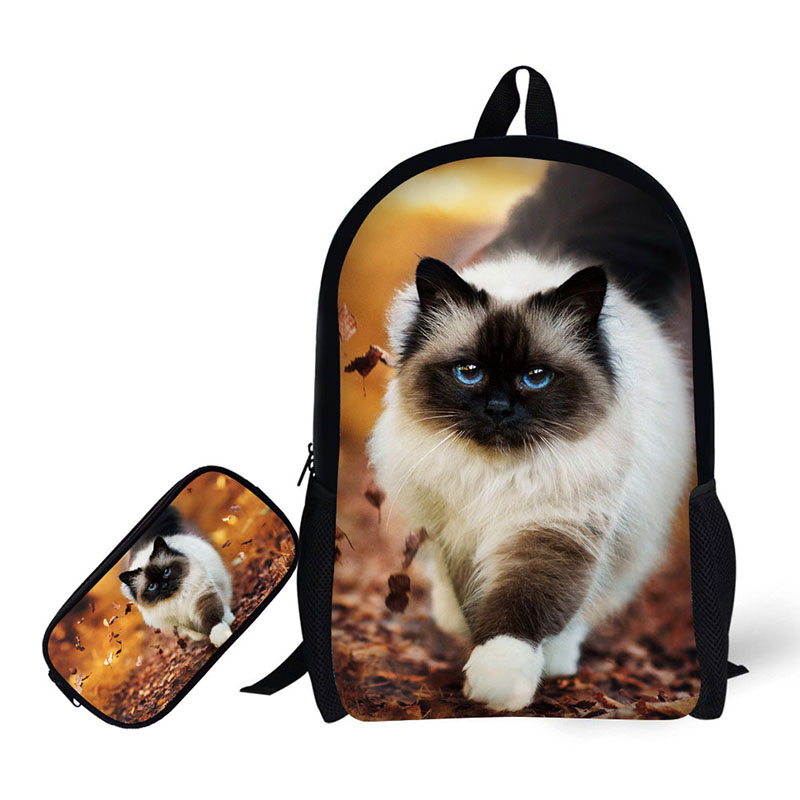 Animal pet cat Printing Children Backpack+Pencil case for High School Backpacks for Primary school students Teenagers Mochila футболка tommy hilfiger mw0mw05243 501 cloud htr