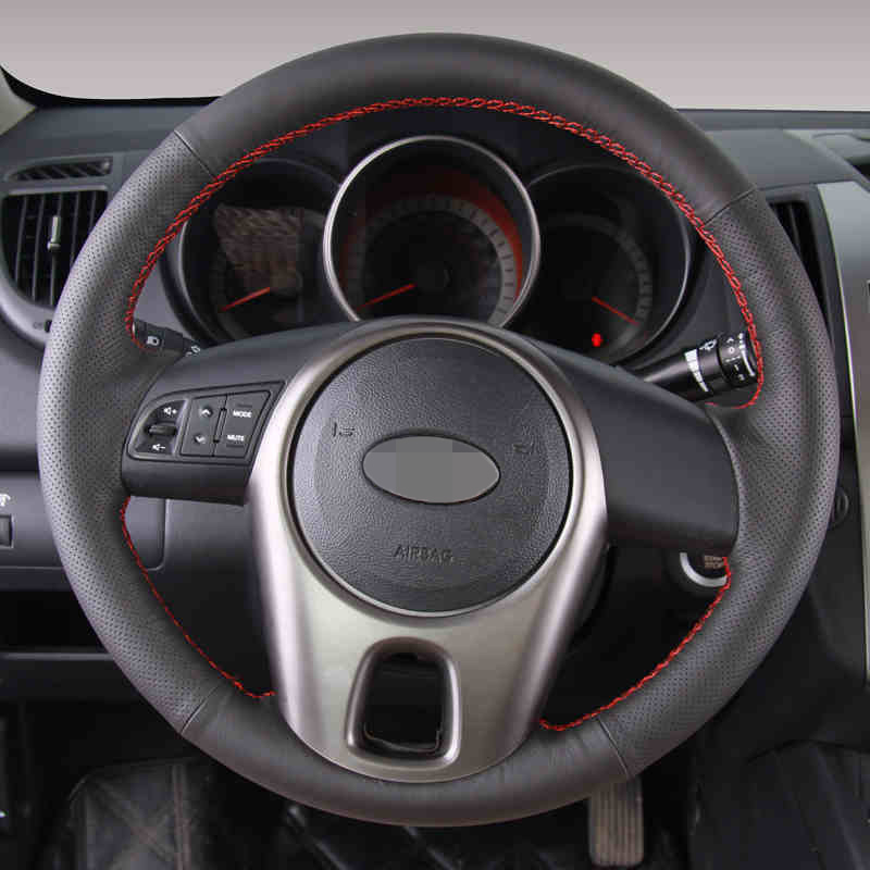 Hand stitched Black Leather Steering Wheel Cover for Kia Forte Kia Soul Kia Rio 2009 2011