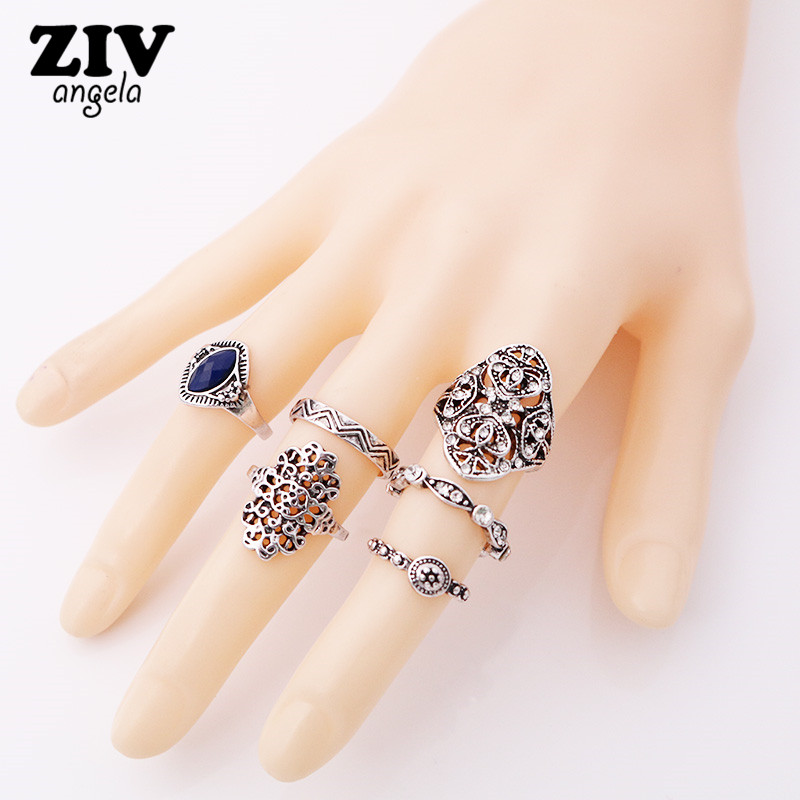 ZIVangela 6 pcs/set Fashion Vintage Punk Midi Rings Set Antique Gold Color Boho Female C ...