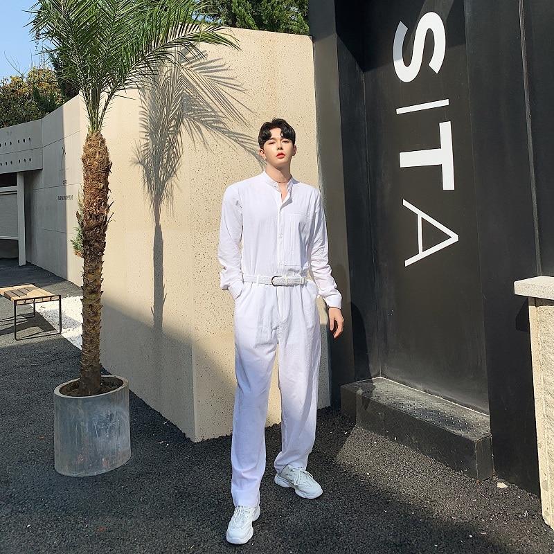 Hommes été coton lin lâche blanc combinaisons homme manches longues col montant chemise salopette pantalon Streetwear scène spectacle pantalon-in Salopette from Vêtements homme    3
