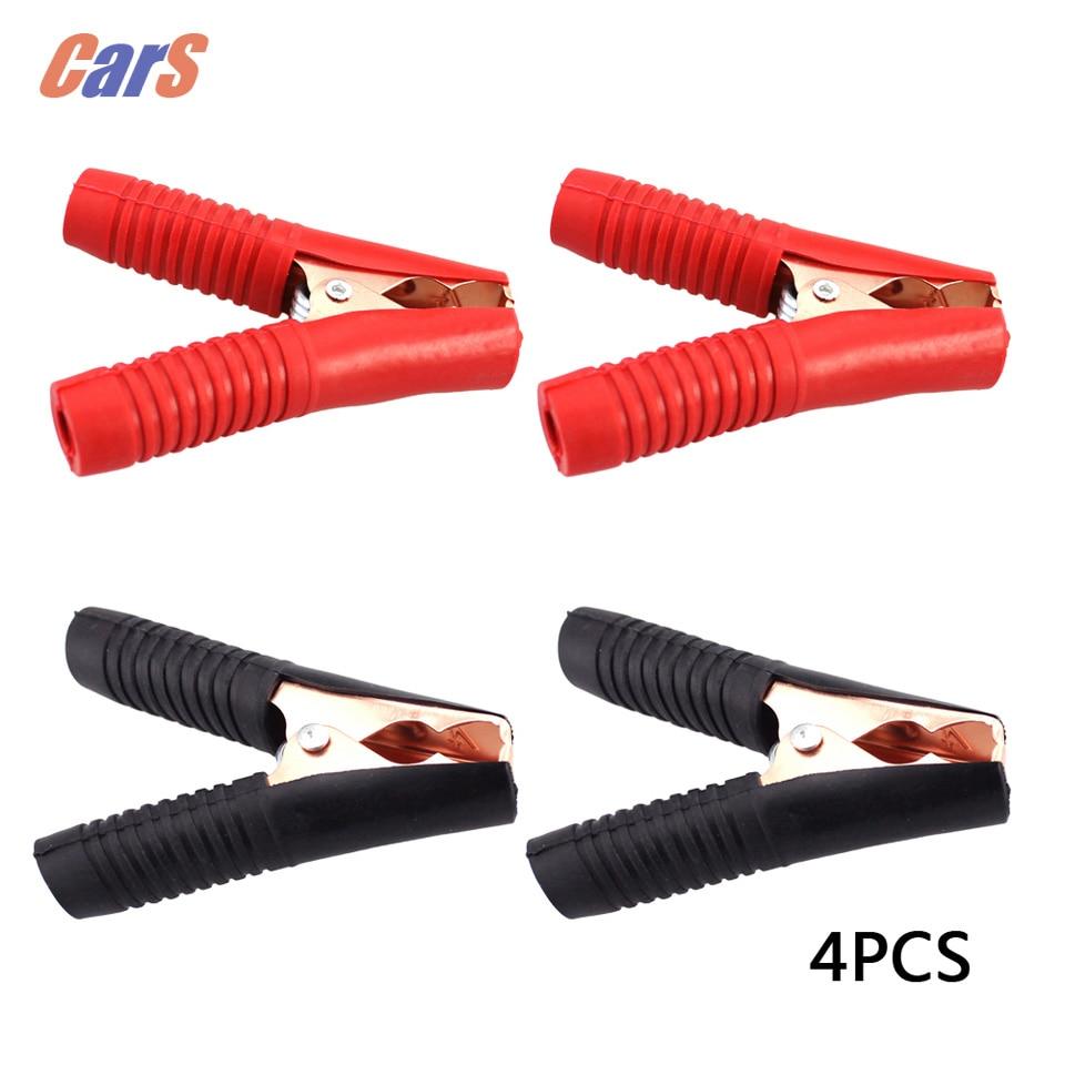 4PCS Car Battery Clip 100A Automonile Battery Clips Cables Alligator Clips Charger Clamp 2 Red 2 Black Car Caravan Van