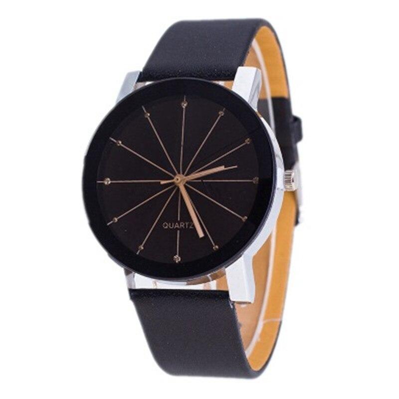 Top Brand Luxury Unisex Watch Stainless Steel Dial Black Watch   Leather Band Quartz Wrist Watch Reloj Hombre Relogio Masculino