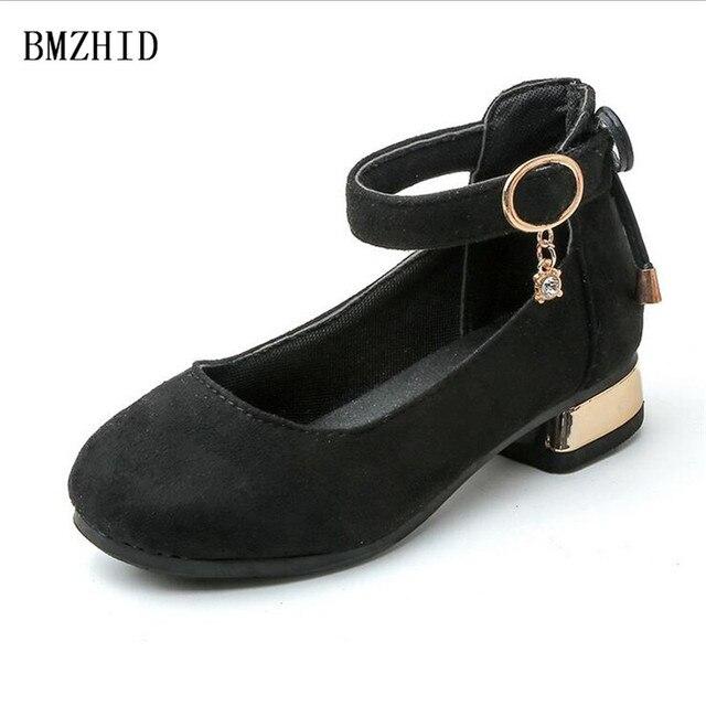 13a8f13b55 Gamuza niña alta con zapatos de la princesa 2017 Otoño nueva moda zapatos  de cuero para