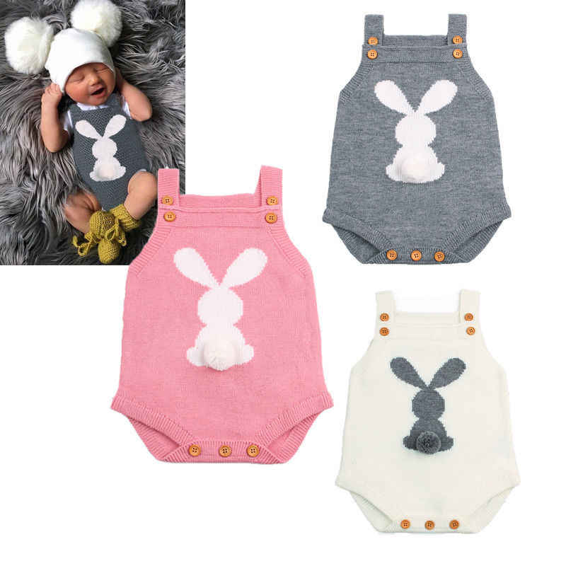 8c2480972 Newborn Baby Boy Girl Bunny Knitting Wool Romper Jumpsuit Outfit Easter Baby  Clothes 0-24M