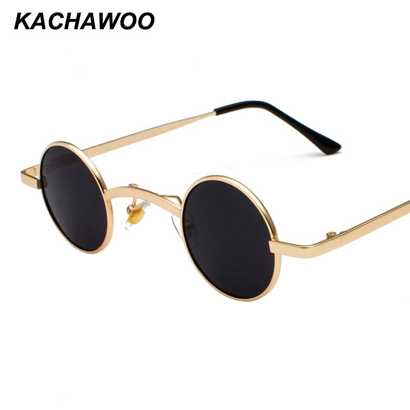 ca7e0a9b20d Kachawoo small round sunglasses men metal frame round retro style tiny sun  glasses for women accessories summer 2018 UV400