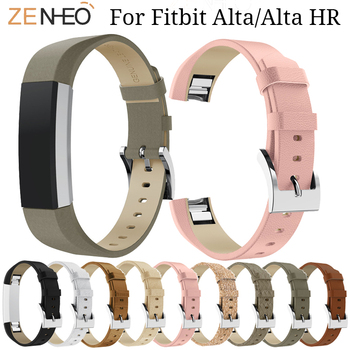 10 color Genuine Leather Watchband For Fitbit Alta/Alta HR watch Strap Replacement For Fitbit Alta Wristband Bracelet watch Band high quality replacement alloy crystal rhinestone wristband band strap bracelet for fitbit alta for fitbit alta hr watch band
