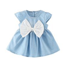 Baby Girls Bow-knot Design Mini Dress Children Baby Summer Style Fashion Short Sleeve Party Dress Kids Clothes summer dress for girls children clothing beach style banana dots printed short sleeve bow knot casual dresses girls tutu dress
