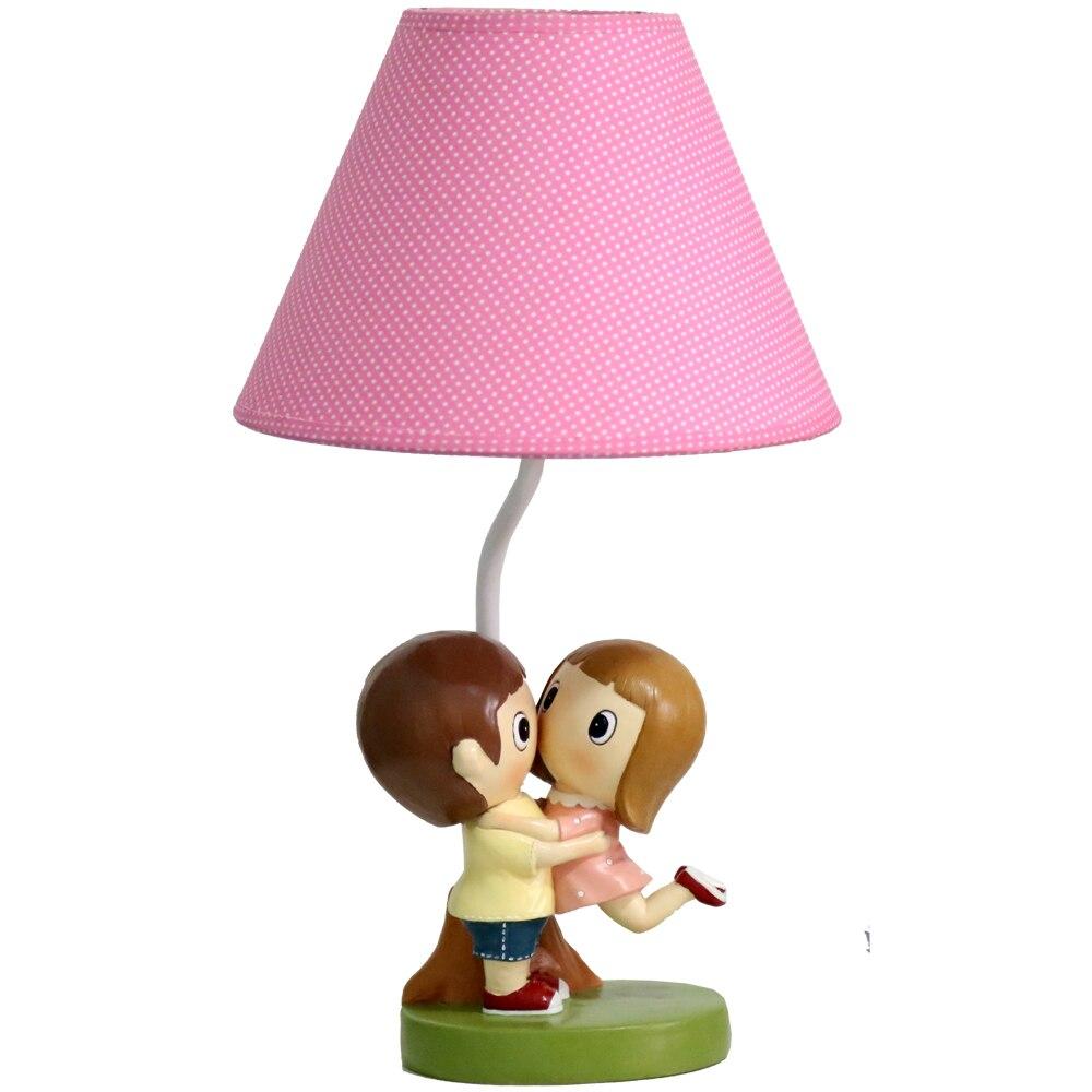 Home Decoration Modern Simple Sweet Couple Modeling Table Lamp Rose Red Linen Shade 41x22x14cm Resin Lamp Body Kid's Desk Light