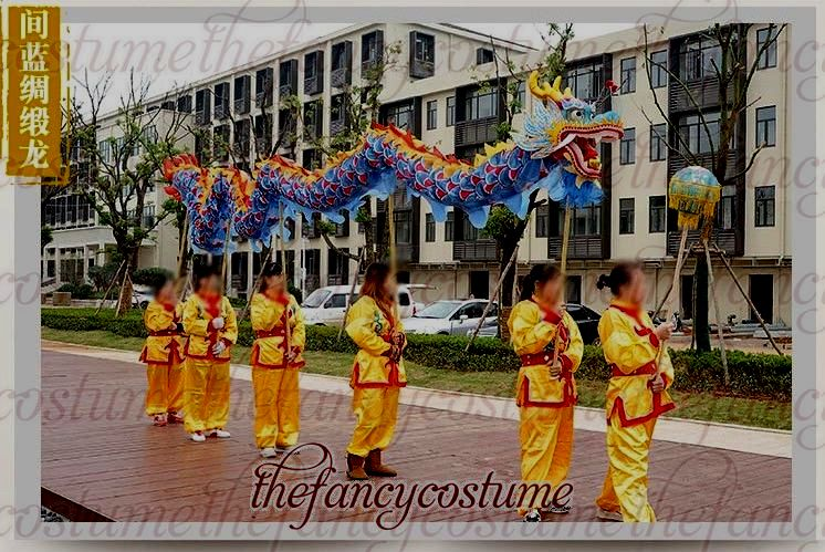 7m Length Size 5 Silk Print Fabric 6 Student Chinese DRAGON DANCE Flower Dragon Chinese Folk Festival Celebration Costume