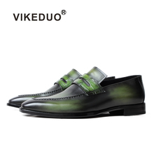 VIKEDUO Patina Loafers Shoes For Men Handmade Wedding Office Mans Footwear Casual Luxury Brand Designer Leather Zapato