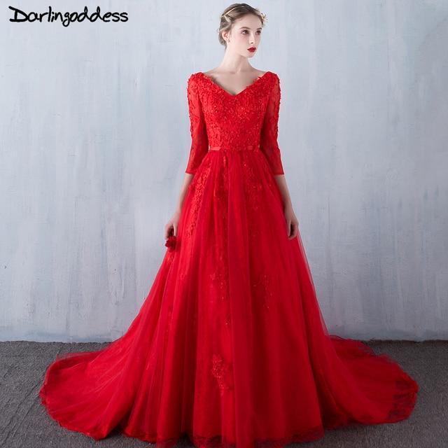 Darlingoddess Sexy Elegant Wedding Dresses Red Three Quarters Romantic Lace Vintage Beach Gowns 2017 Robe De Mariee