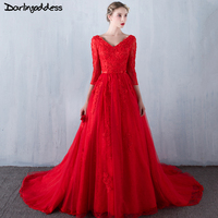 Darlingoddess Sexy Elegant Wedding Dresses Red Three Quarters Romantic Lace Vintage Beach Wedding Gowns 2017 Robe De Mariee