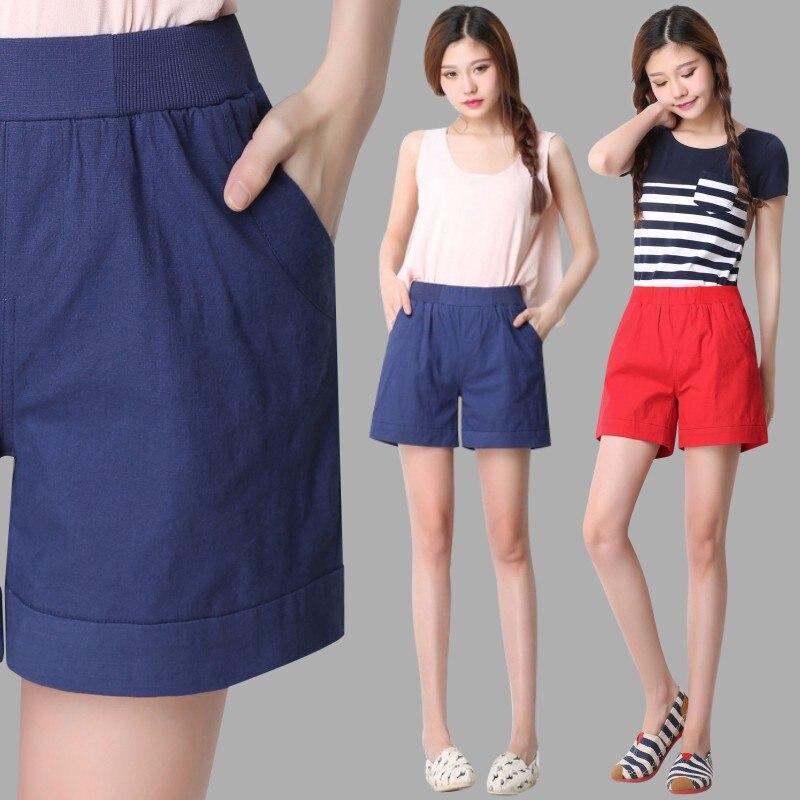 0fd5da8989 La sra. victoria 2017 Nueva Moda de verano shorts mujeres 100% pantalones  cortos de algodón más estilo brida corta floja agujero Azul pantalones  cortos para ...