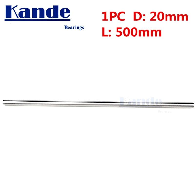 Kande Bearings 1pc d:20mm 500mm 3D printer rod shaft 20mm linear shaft 100mm chrome plated rod shaft CNC parts 2pcs linear shaft 500mm long diameter 20mm l 500mm harden linear rod round shaft chrome plated
