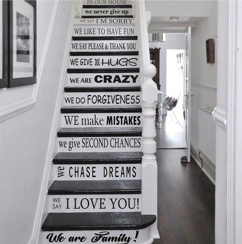 Drop Shipping Text Stairs Self Adhesive Vinyl Wallpaper For Living Room Waterproof Children Room Wall Art Decal adesivi murali in Wall Stickers from Home Garden