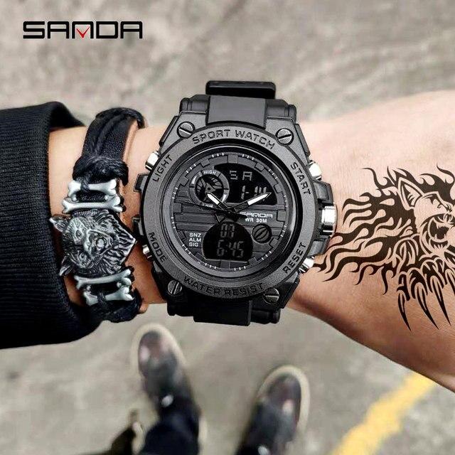 2019 new SANDA นาฬิกาแบรนด์หรูทหารนาฬิกาควอตซ์ผู้ชายกันน้ำดิจิตอลนาฬิกา relogio masculino