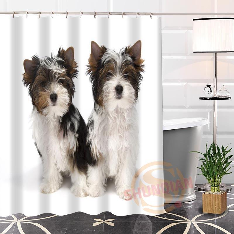 Hot Sale Modern Fashion Custom Yorkshire Terrier@1 Fabric 100% Polyester Shower Curtain bathroom Waterproof H0223-108